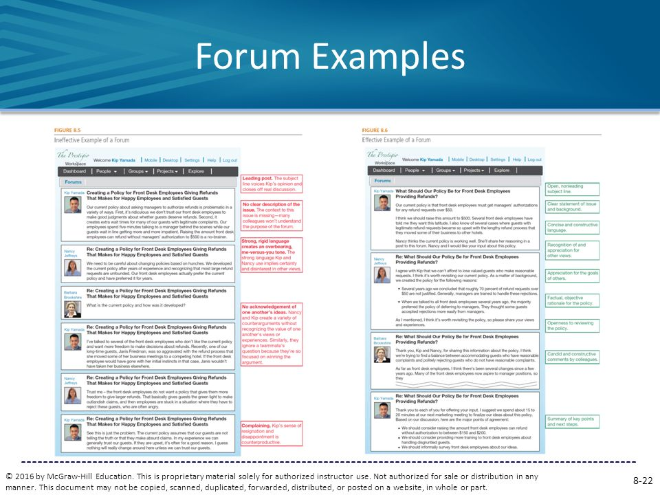 Forum Examples Figure 8.5 displays an abbreviated discussion forum that is not effective.