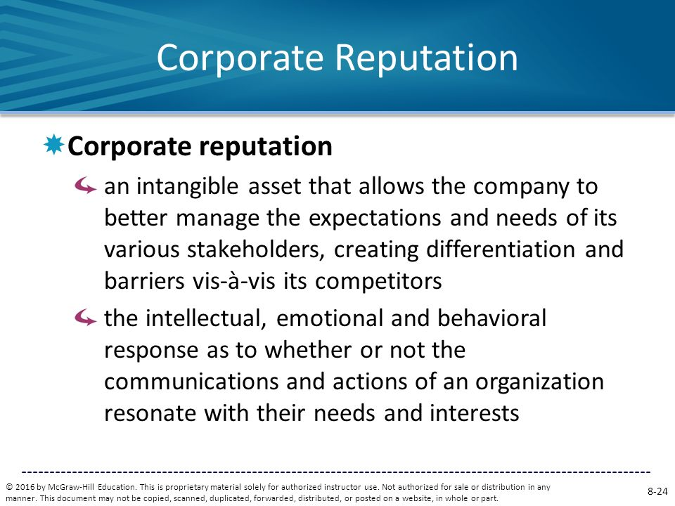 Corporate Reputation Corporate reputation