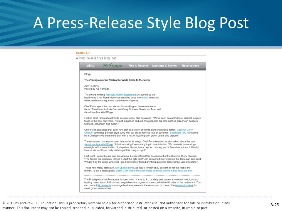 A Press-Release Style Blog Post