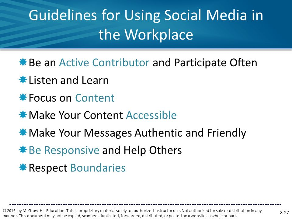 Guidelines for Using Social Media in the Workplace