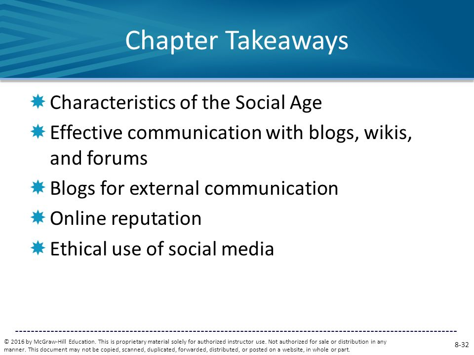 Chapter Takeaways Characteristics of the Social Age