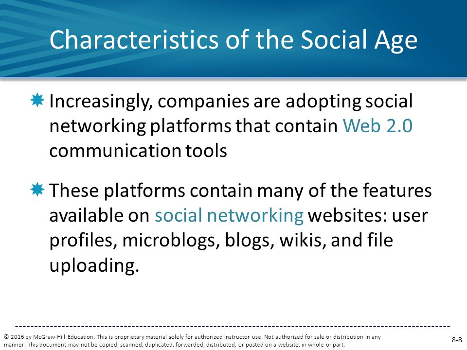 Characteristics of the Social Age