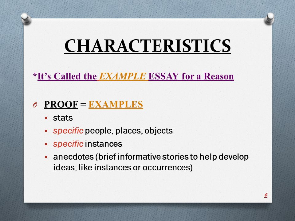characteristics its called the example essay for a reason