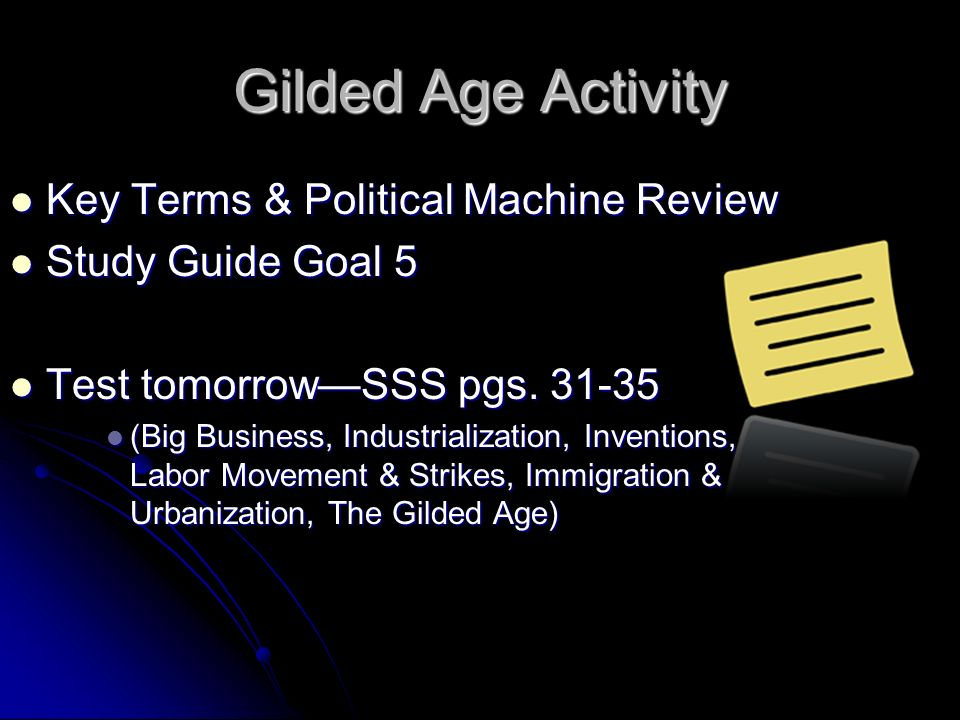 Gilded Age Activity Key Terms & Political Machine Review