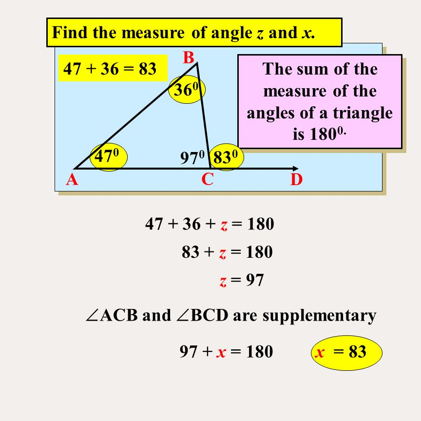 The sum of the measure of the angles of a triangle is ppt - Measure of exterior angles of a triangle ...