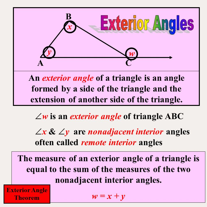 The sum of the measure of the angles of a triangle is ppt - Sum of the exterior angles of a triangle ...