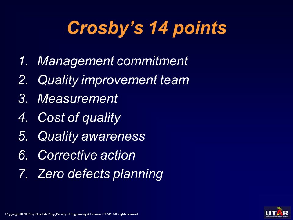 crosby 14 points His fourteen points, system of profound knowledge, and teachings on  crosby sees the quality management maturity grid as a first step in moving an.
