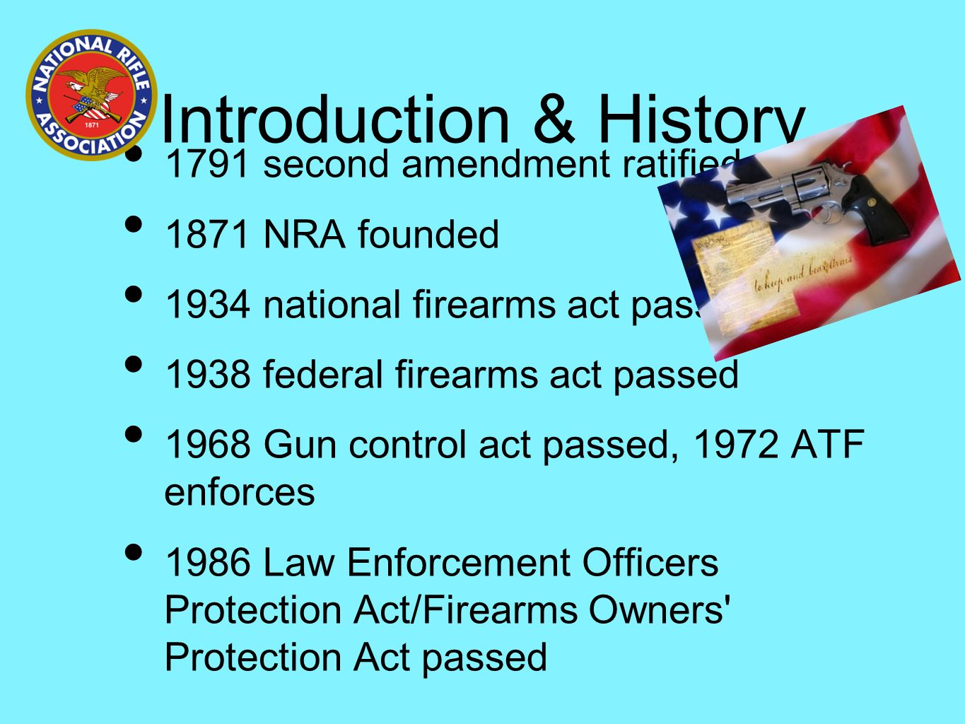 an introduction to the history of gun control in america Gun control essay do we really need gun control america has recently witnessed a number of shooting and indiscriminate firing incidents in schools, malls, and villages.