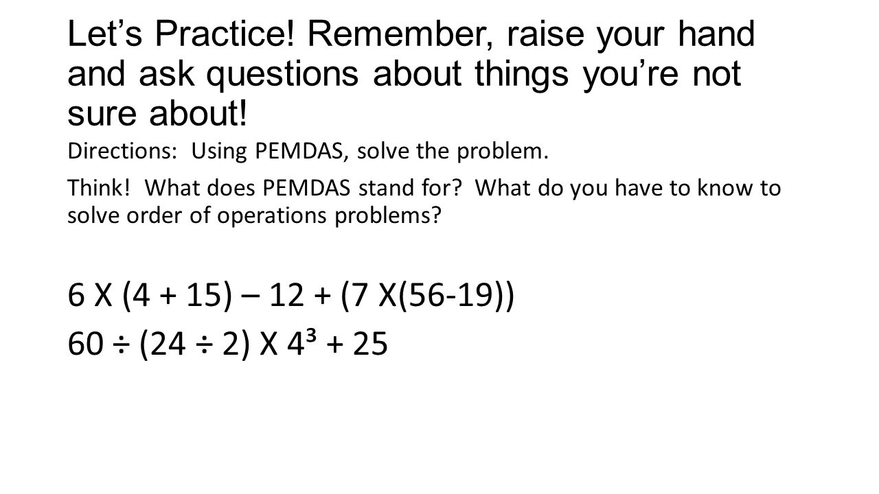 worksheet Pemdas Practice Problems second quarter eqt review practice problems ppt video online lets remember raise your hand and ask questions about things youre