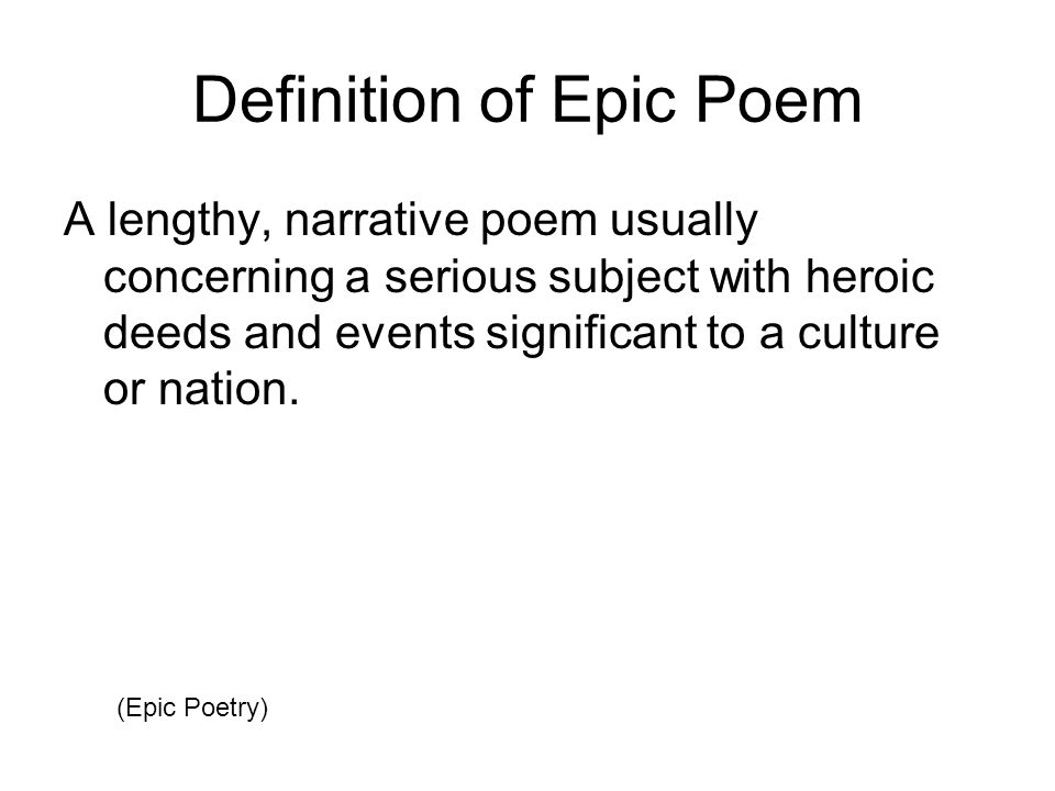 defination of epic Epic definition is - a long narrative poem in elevated style recounting the deeds of a legendary or historical hero how to use epic in a sentence does epic mean 'impressive' or just 'big.