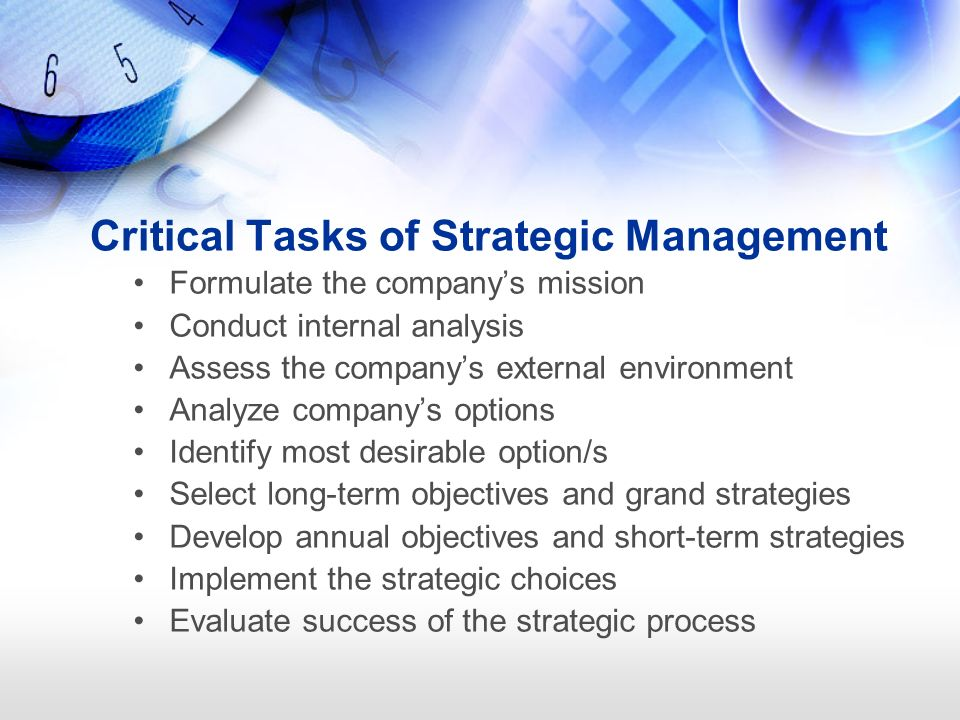 5 tasks of strategic management To meet the competitive challenges organizations face today, hr must go beyond being a functional player and should become strategic partner it starts with the understanding of the business and the competition.