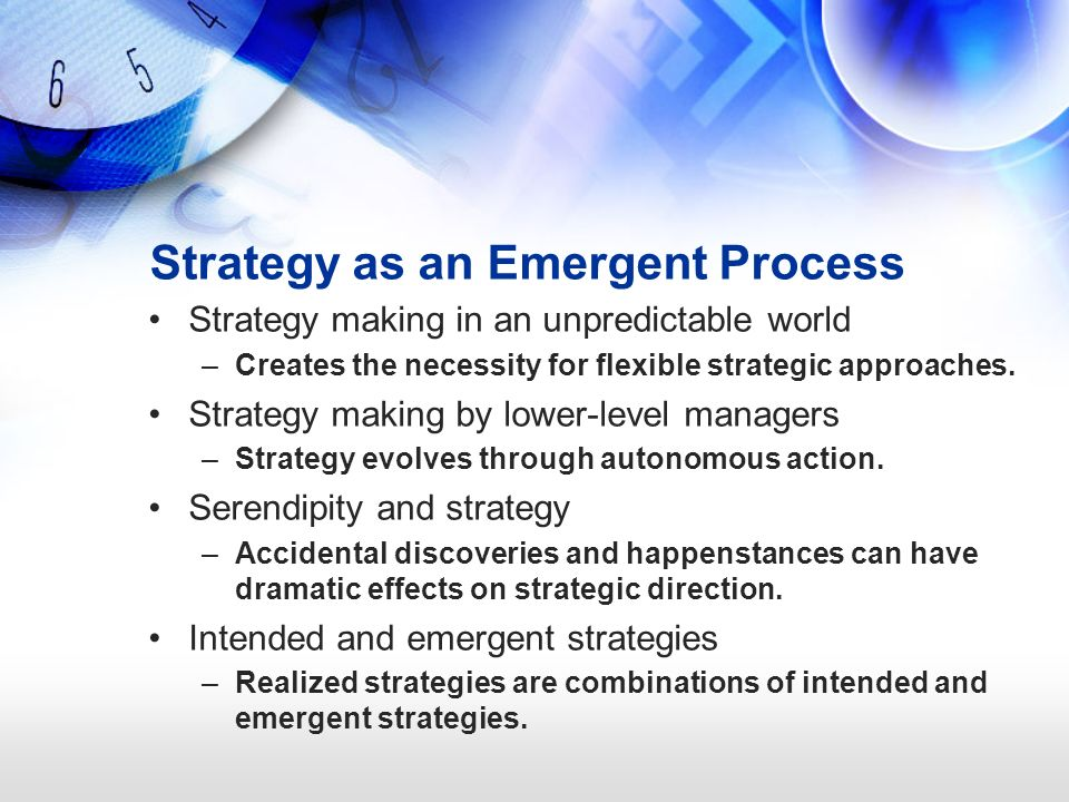 emergent and intended approaches to strategy What is the difference between an intended and an emergent strategy can you think of a company that seems to have abandoned its intended strategy.