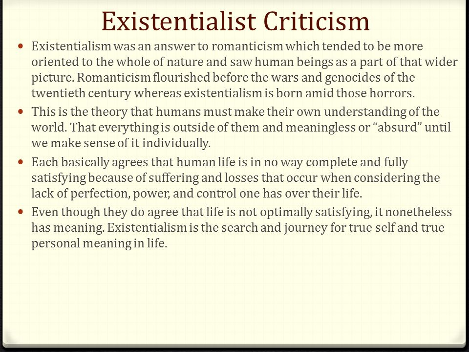 existentialist school of thought