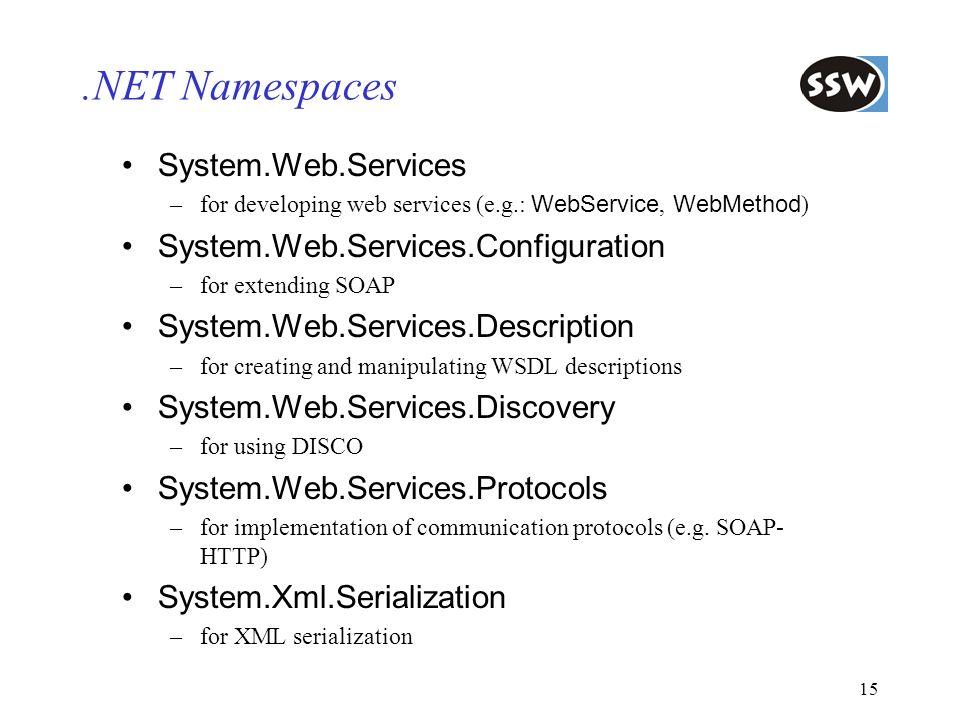 .NET Namespaces System.Web.Services System.Web.Services.Configuration