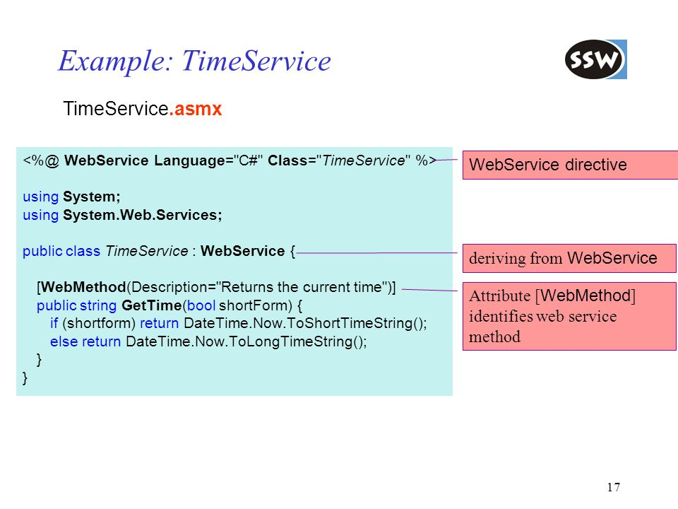 Example: TimeService TimeService.asmx WebService directive
