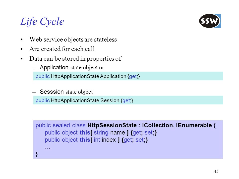 Life Cycle Web service objects are stateless Are created for each call