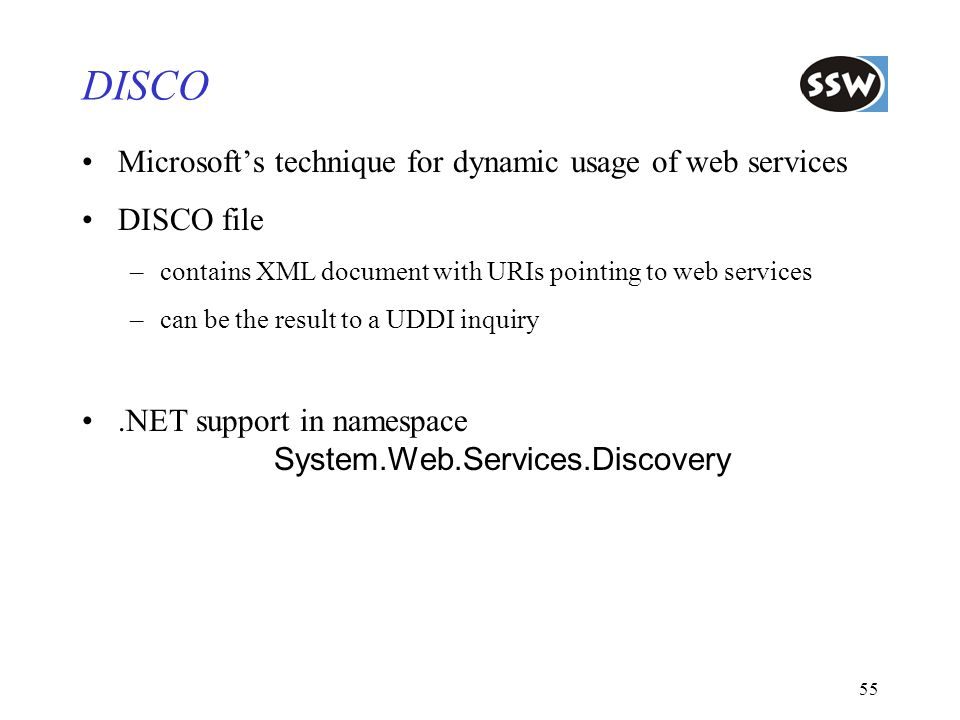 DISCO Microsoft's technique for dynamic usage of web services