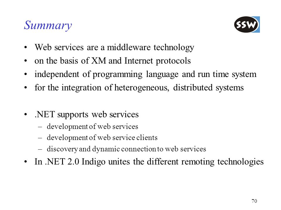Summary Web services are a middleware technology