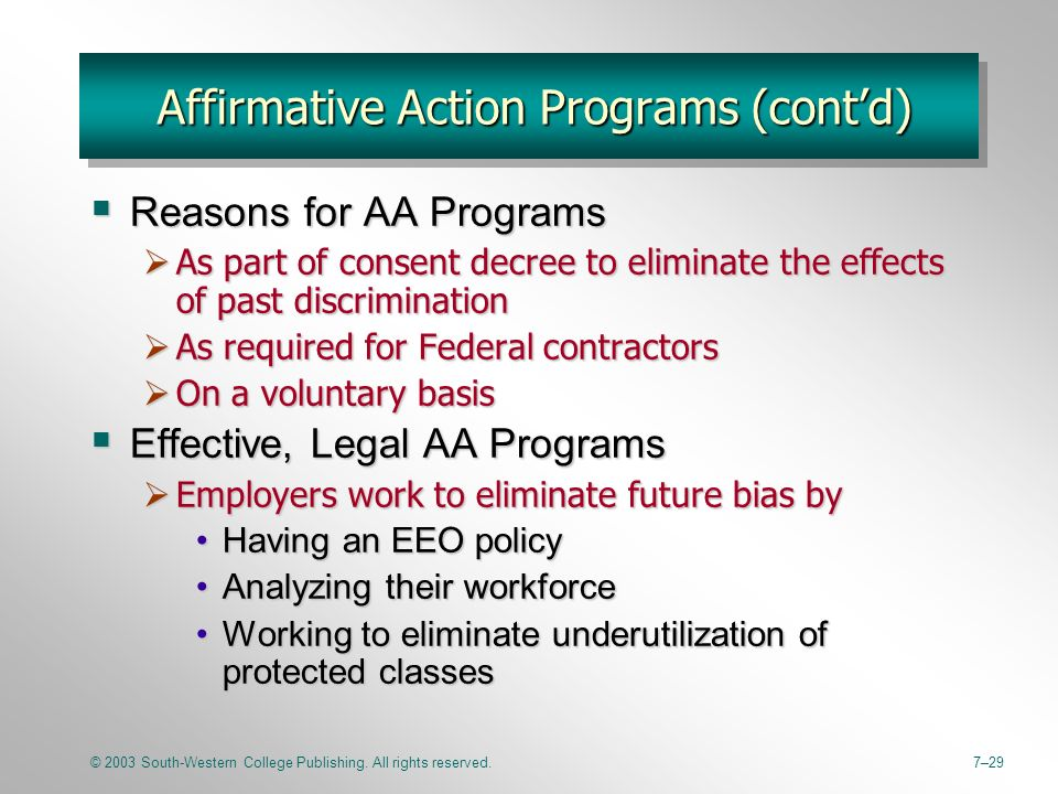 the goals and benefits of affirmative action Affirmative action and the  the legal justification for affirmative action 22 33 the benefits of  its value for the attainment of broad developmental goals.