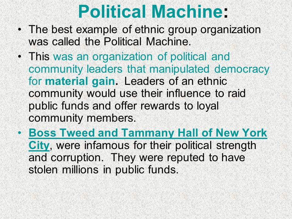 urban political machine in new york Urban political machines grant sanders political force in new york city urban politics: machines and reforms / voting rights and citizenship curriculum.
