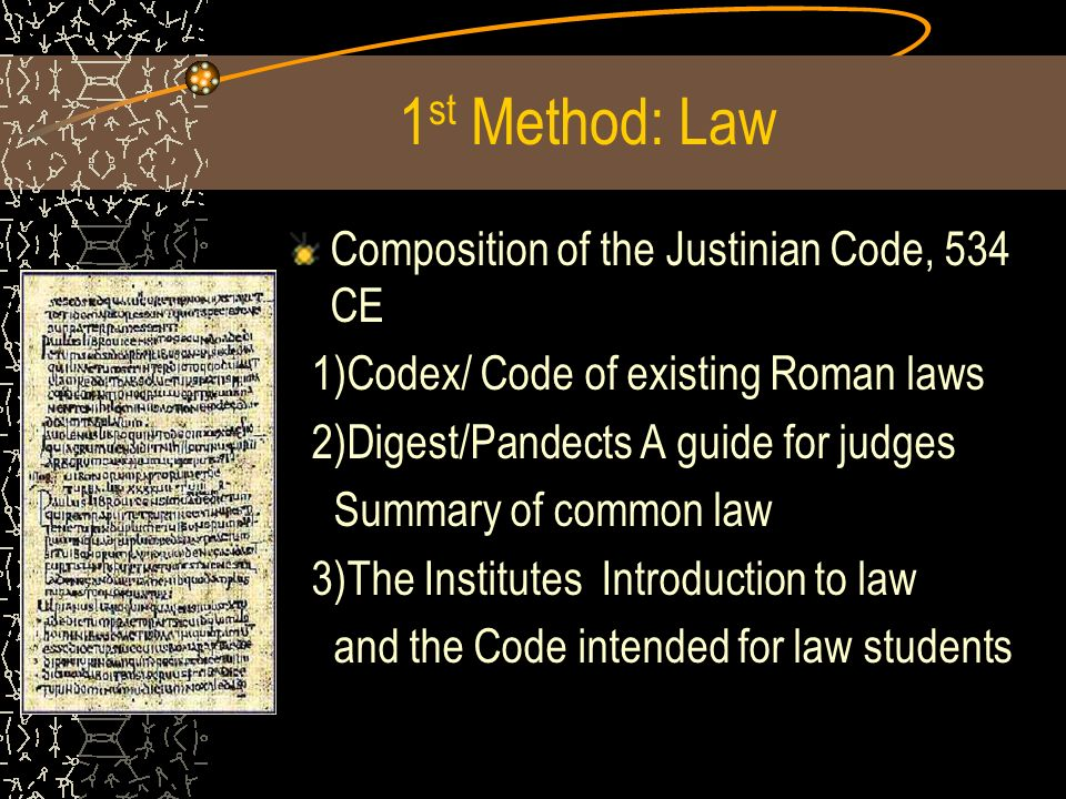 1st Method: Law Composition of the Justinian Code, 534 CE