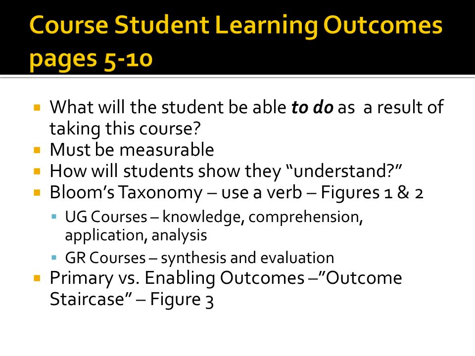 Course Student Learning Outcomes pages 5-10