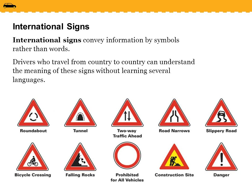 Drive right chapter 2 monday april 24 2017 lesson 21 traffic international signs international signs convey information by symbols rather than words buycottarizona Choice Image