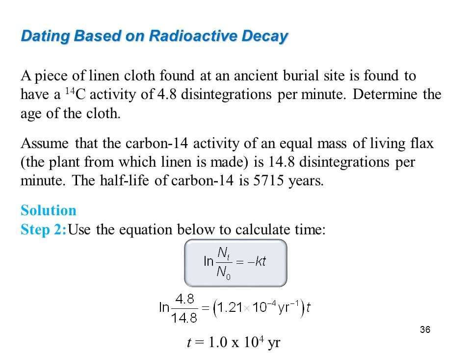 radioactive carbon dating equation