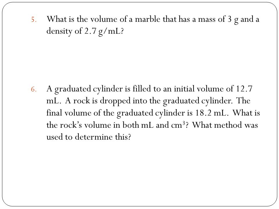 Mass Volume Amp Density Sps2a Calculate Density When Given