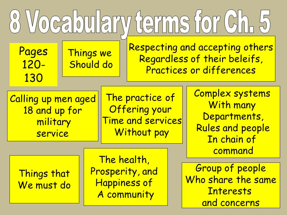 8 Vocabulary terms for Ch. 5