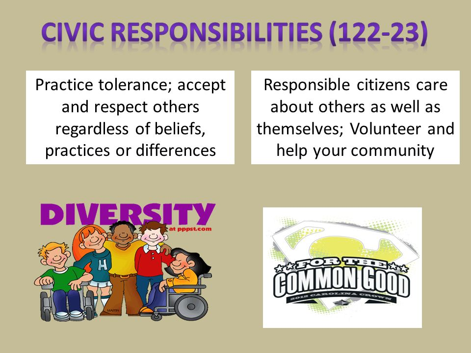 Civic Responsibilities (122-23)