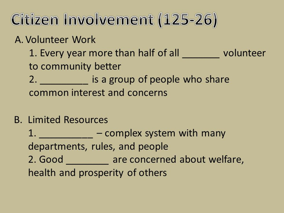 Citizen Involvement (125-26)