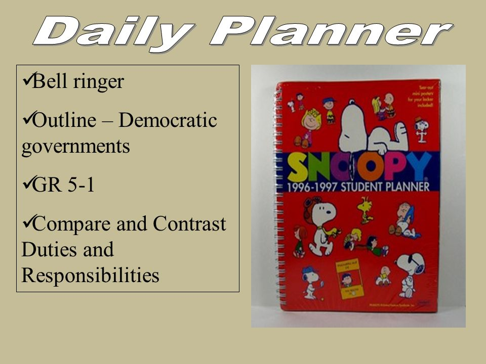 Daily Planner Bell ringer Outline – Democratic governments GR 5-1