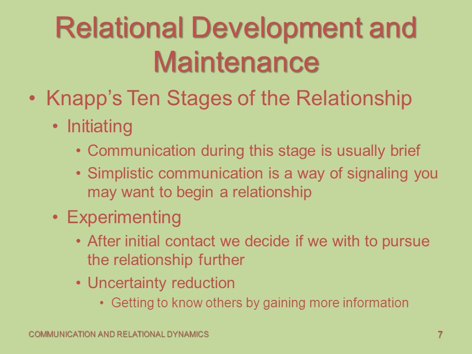 knapp s ten stages of relational communication Sources social penetration knapps staircase model welch, s a development of relationship stage measures communication quarterly, 50(1), 24-40 aurier, p.