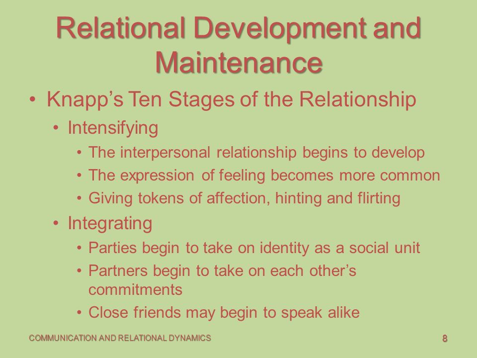 knapp s ten stages of relational communication What forms of communication was knapp's ideal of relational development model were identified explain each stage and apply relevant examples.