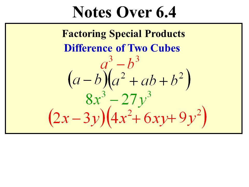 special products and factoring View notes - special products and factoring strategies from math 152b at lake tahoe community college 3 - 8) (x 3 + 8) = (x - 2) (x 2 + 2x + 4) (x + 2) (x 2 - 2x + 4) exercises: factor the.