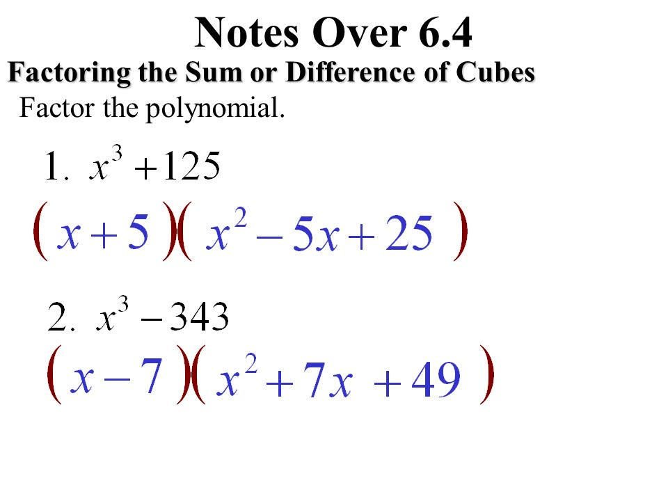 Factoring special products ppt video online download notes over 64 factoring the sum or difference of cubes ccuart Image collections