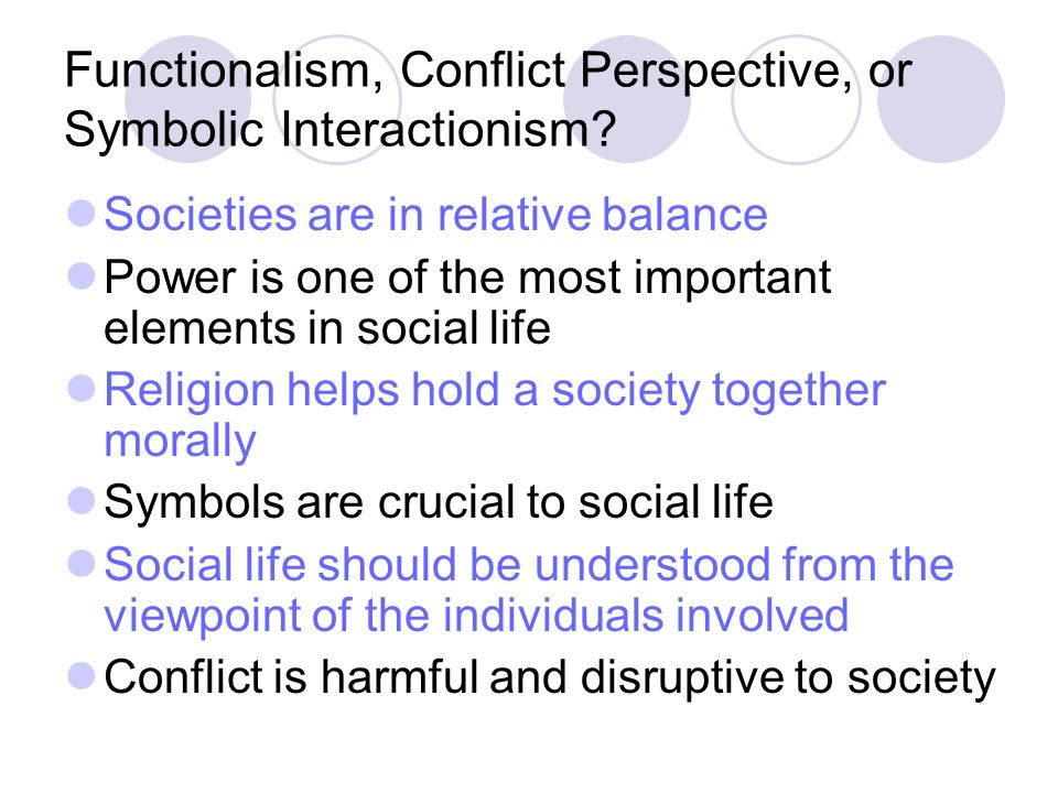 Symbolic interactionism functional analysis conflict theory