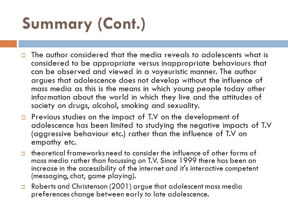 mass media and adolescence how mass The respondents' recall of alcohol‐related mass media material were categorized  as: commercial alcohol advertising, alcohol moderation messages or the.