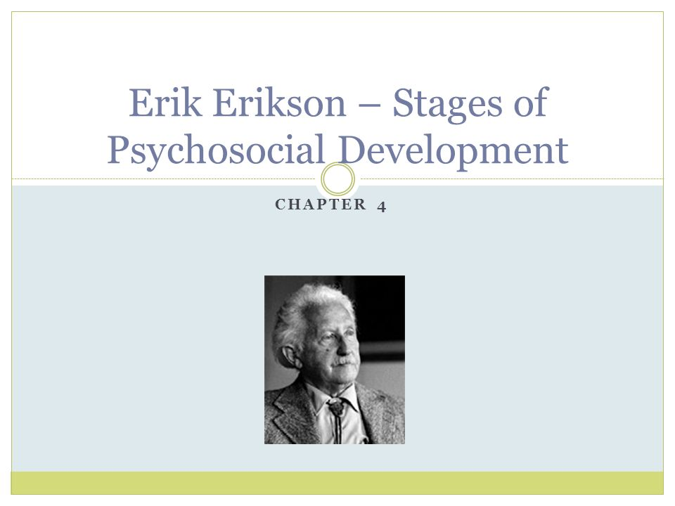 eriksons fifth stage of psychosocial development essay 4 erikson divided the growth of the personality into eight psychosocial stages   as a center of 5 development, erikson builds his theory around psychosocial.
