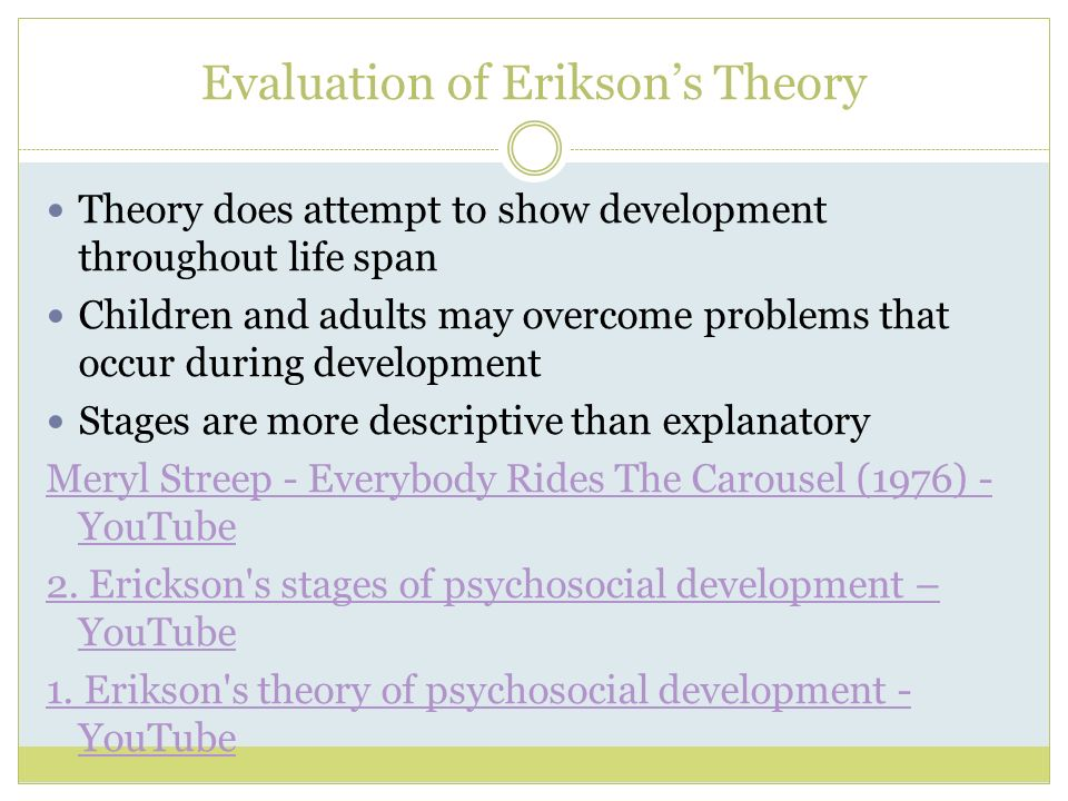 a critical evaluation of eriksons psychosocial theory Erikson's (1959) theory of psychosocial development has eight distinct stages  critical evaluation erikson's theory has good face validity.