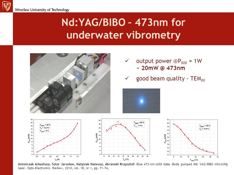 Nd:YAG/BIBO – 473nm for underwater vibrometry