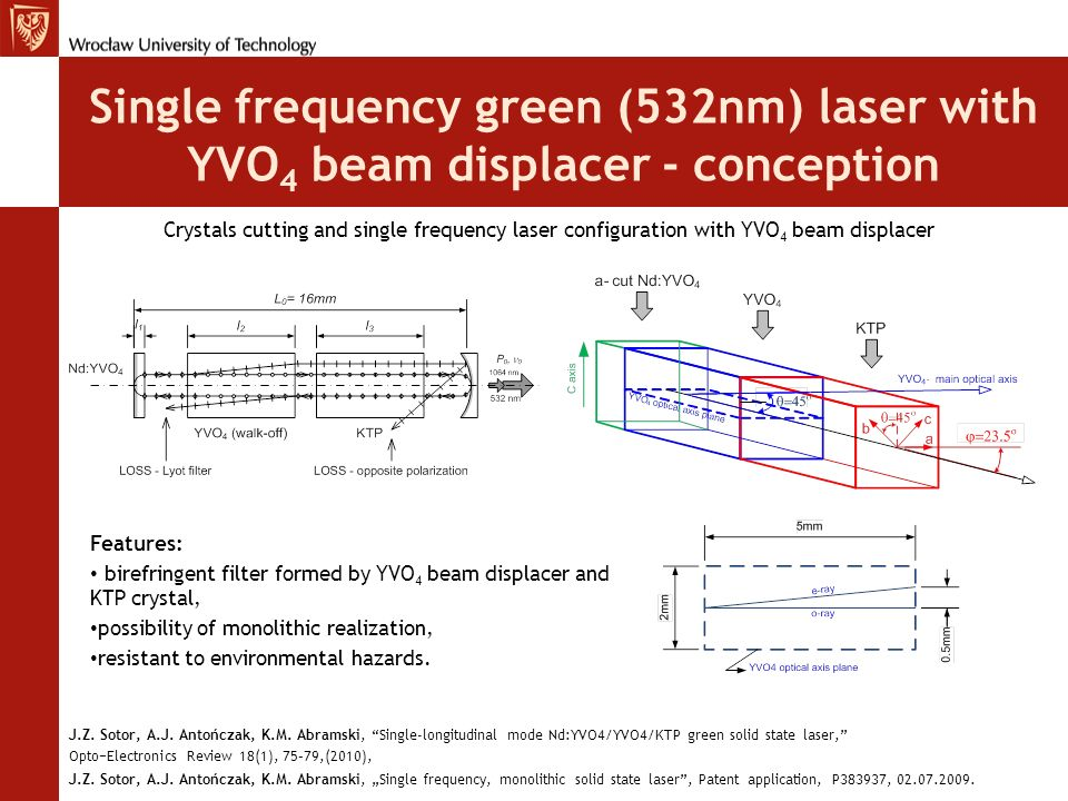 Single frequency green (532nm) laser with YVO4 beam displacer - conception