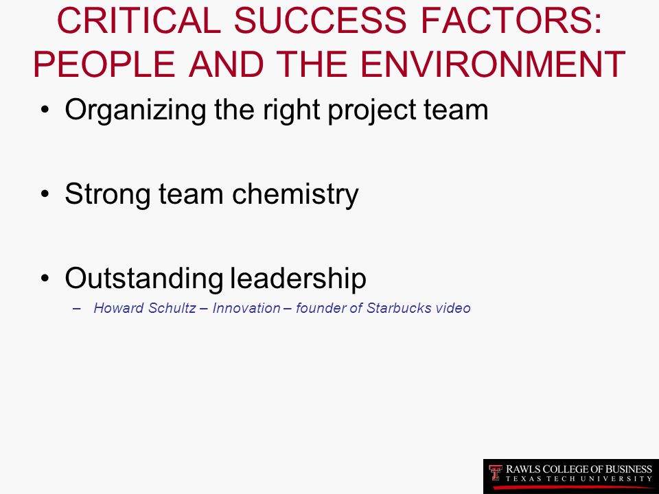 critical success factors of starbucks Key success factors (ksfs) are important to future competitive success of industry players these factors comprise resources, product attributes, competencies, market achievements and competitive capabilities etc.