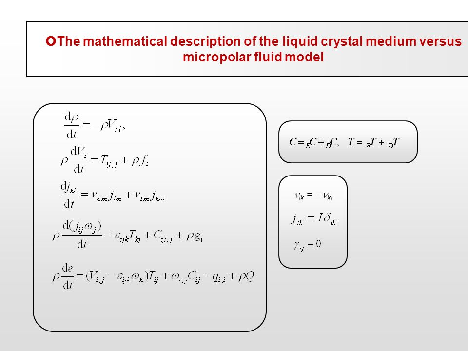 OThe mathematical description of the liquid crystal medium versus