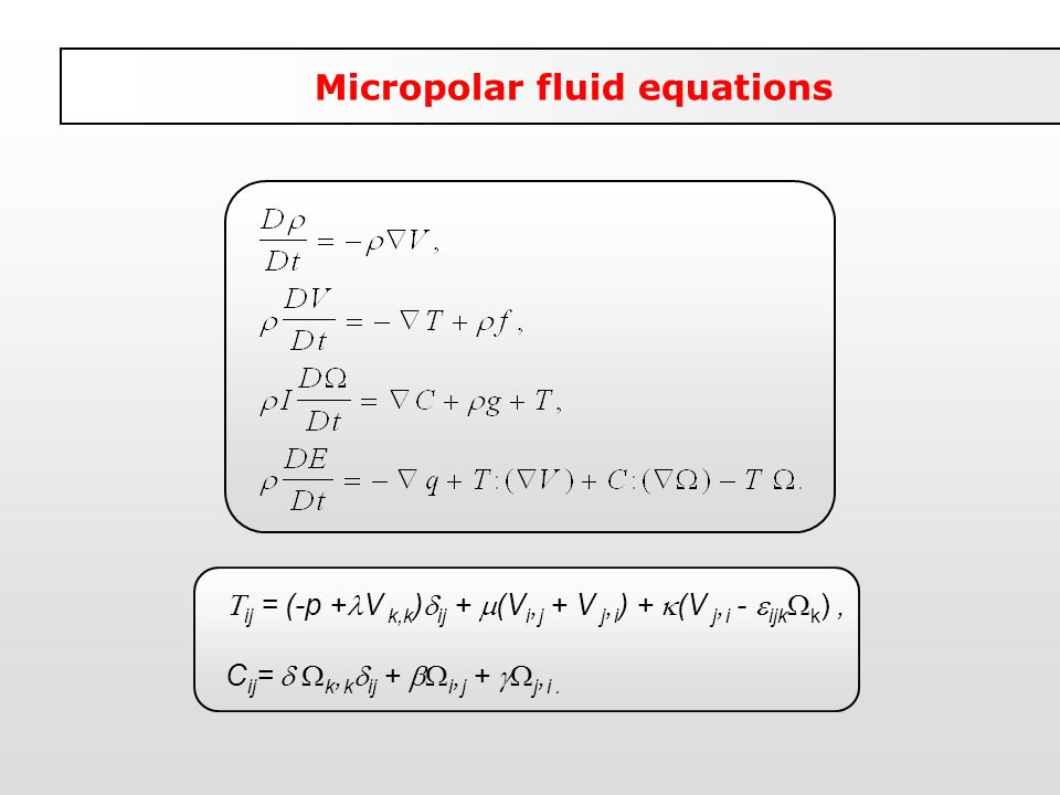 Micropolar fluid equations