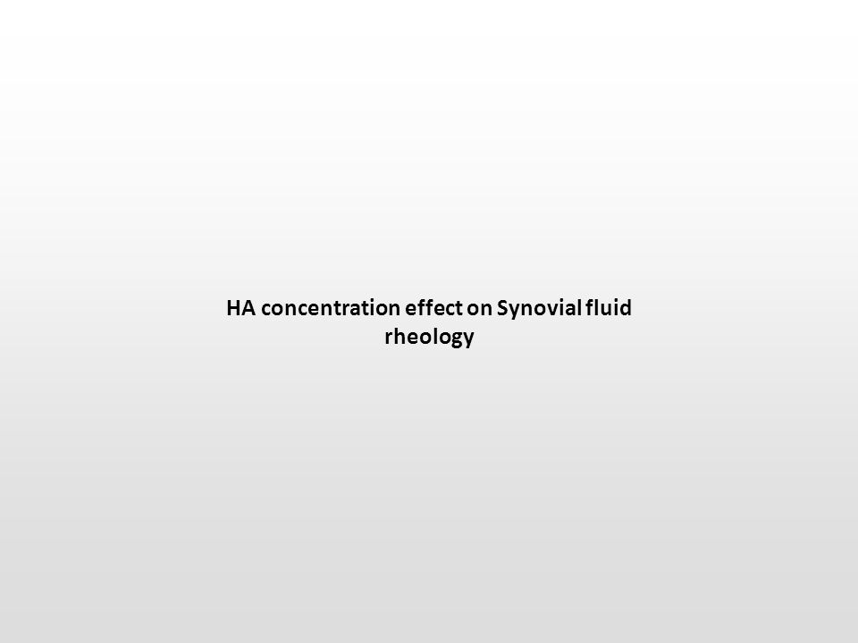 HA concentration effect on Synovial fluid rheology
