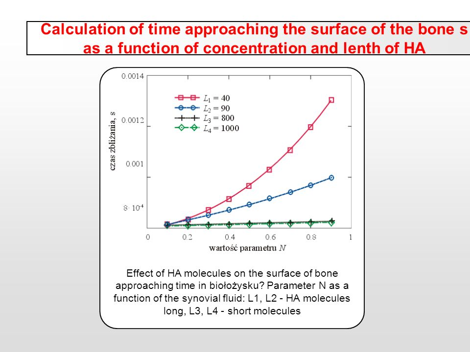 Calculation of time approaching the surface of the bone s as a function of concentration and lenth of HA