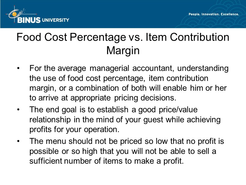cost vs percentage Food cost percentage is generally figured on a weekly basis if the formula returns an answer of 50 percent, then the restaurant spends 50 cents to purchase food for every dollar earned in sales restaurants can use a free online calculator to calculate food cost percentages.