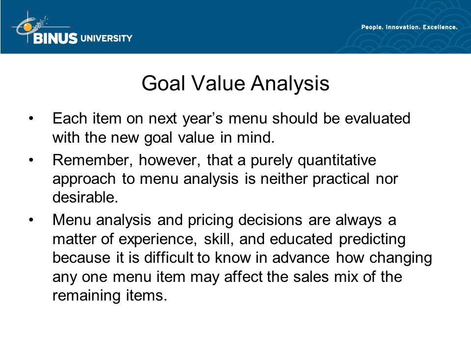 an analysis of menu pricing and strategy The paper p3 study guide includes an the learning objective, e3e: 'describe a  process for establishing a pricing strategy that recognises both economic and.